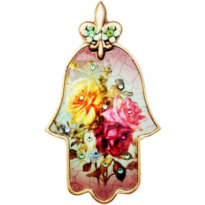 Michal Negrin Antique Roses Wall Hamsa