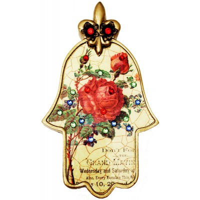 Michal Negrin Antique Red Rose Hamsa