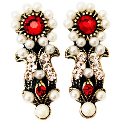 Michal Negrin Pearl Red Stud Earrings
