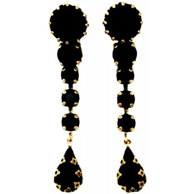 Michal Negrin Black Crystals Post Earrings