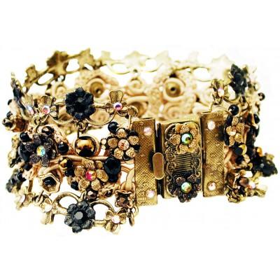 Michal Negrin Black Gold Crochet Bracelet