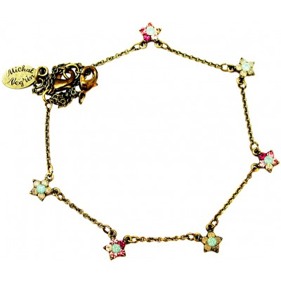 Michal Negrin Pink Sea Green Stars Anklet