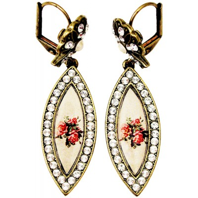 Michal Negrin Silver Crystals Eye Cameo Earrings