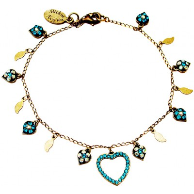 Michal Negrin Turquoise Crystals Heart Anklet