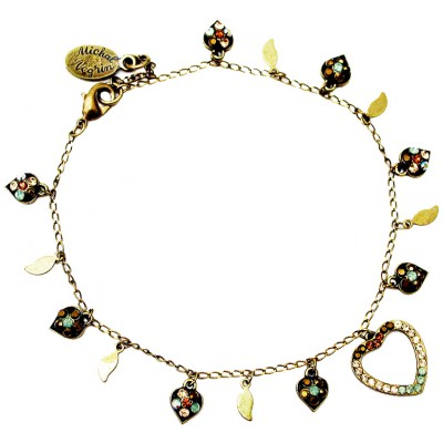 Michal Negrin Bronze Sea Green Heart Anklet