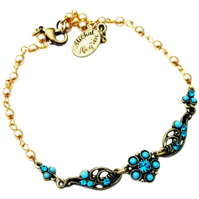 Michal Negrin Turquoise Pearl Flowers Beads Anklet