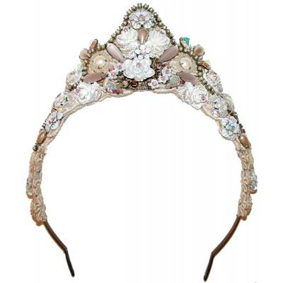 Michal Negrin White Lace Tiara Crown