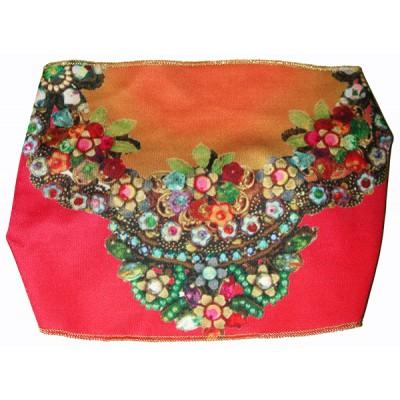 Michal Negrin Red Orange Floral Satin Headband