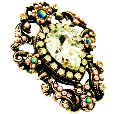 Michal Negrin Champagne Crystal Ring