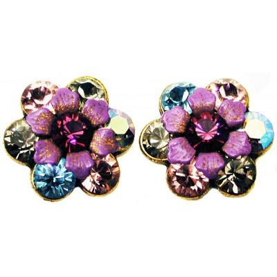 Michal Negrin Purple Aqua Silver Crystal Flower Stud Earrings
