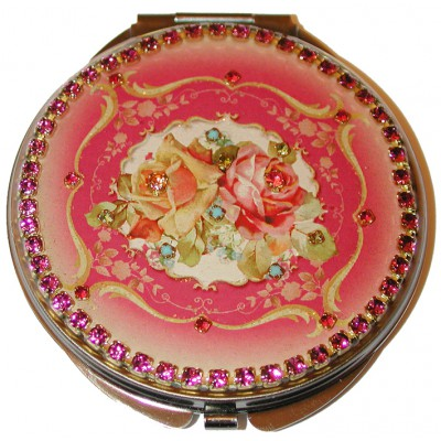 Michal Negrin Pink Roses Compact Mirror
