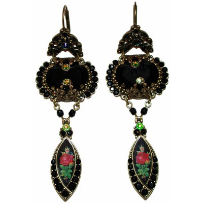 Michal Negrin Black Antique Glamour Earrings