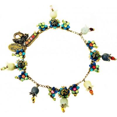 Michal Negrin Vintage Swirl Bells Crystals Bracelet