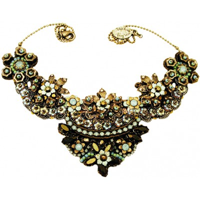 Michal Negrin Bronze Sea Green Lace Necklace