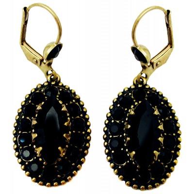 Michal Negrin Black Crystal Oval Earrings