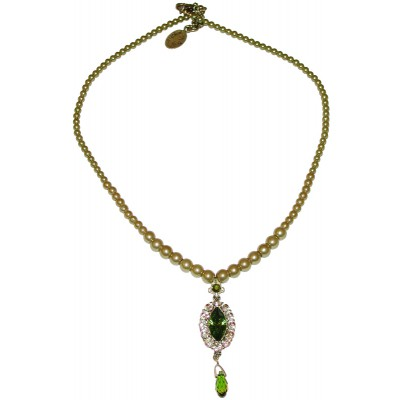 Michal Negrin Green Oval Pendant Beaded Necklace