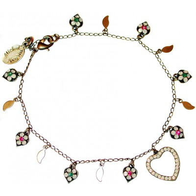 Michal Negrin Heart Charms Leaves Anklet