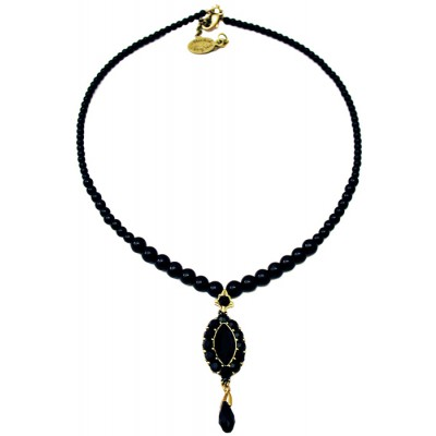 Michal Negrin Black Oval Pendant Beaded Necklace
