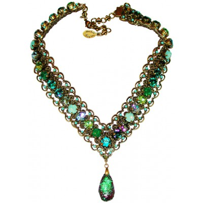 Michal Negrin Green Turquoise Crystal V Necklace