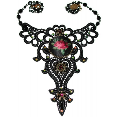 Michal Negrin Black Lace Cameo Necklace