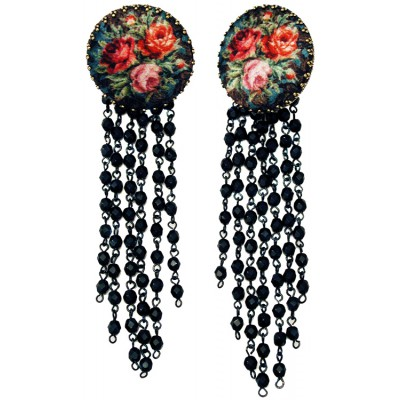 Michal Negrin Fabric Roses Cameo Earrings