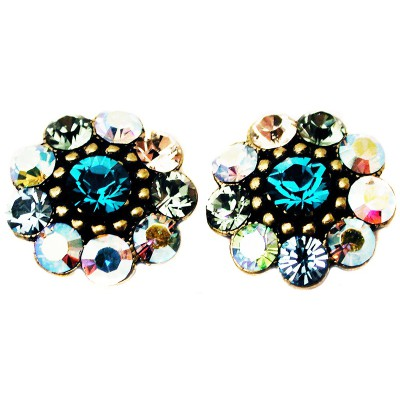Michal Negrin Turquoise Green Crystal Stud Earrings