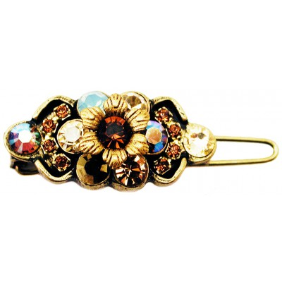 Michal Negrin Bronze Gold Crystal Hairpin
