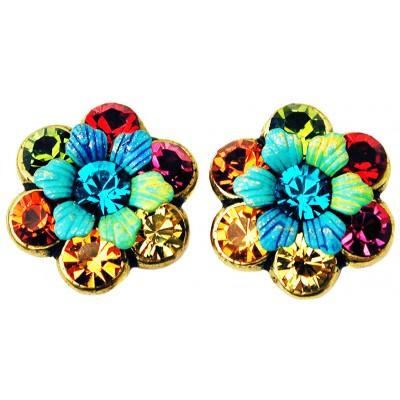 Michal Negrin Multicolor 70's Tiedye Crystal Flowers Stud Earrings