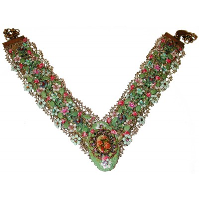 Michal Negrin Flowers Cameo Lace Necklace