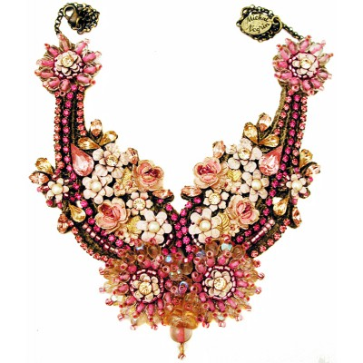 Michal Negrin Pink Embellished Lace Necklace