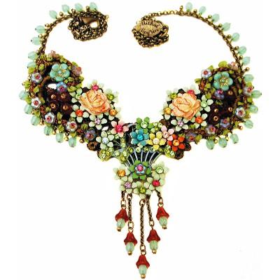 Michal Negrin Multicolor Flowers Lace Necklace