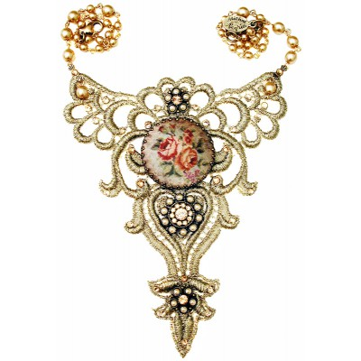 Michal Negrin Gold Lace Cameo Necklace
