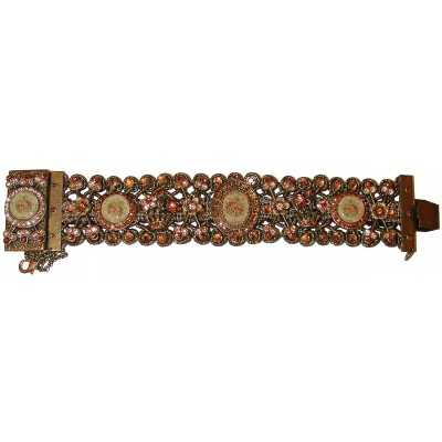 Michal Negrin Bronze Gold Roses Cameos Bracelet