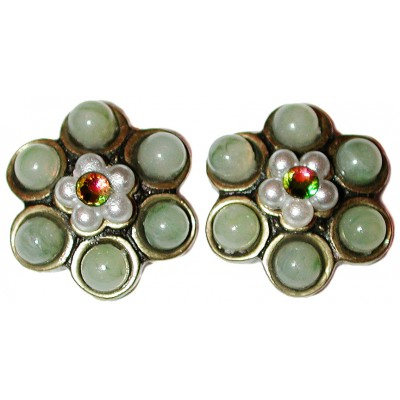 Michal Negrin Green Pearl Beads Stud Earrings