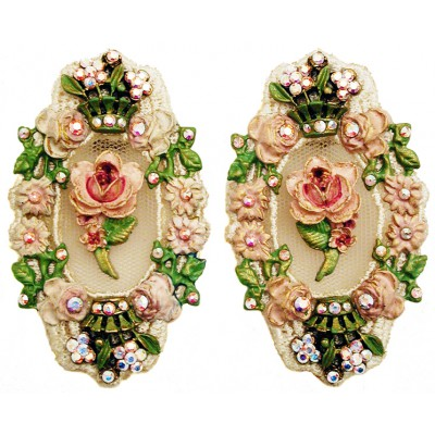 Michal Negrin Vintage Rose Lace Clip Earrings