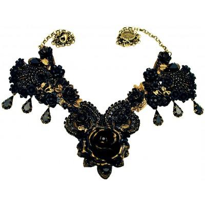 Michal Negrin Black Rose Garden Necklace