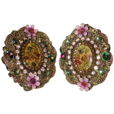 Michal Negrin Antique Cameo Lace Clip Earrings
