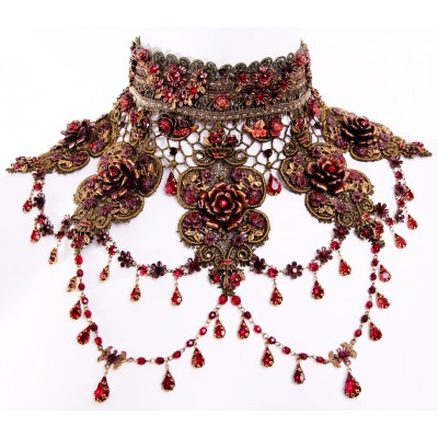Michal Negrin Red Roses Choker Necklace
