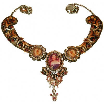 Michal Negrin Gold Bronze Woman Cameos Necklace