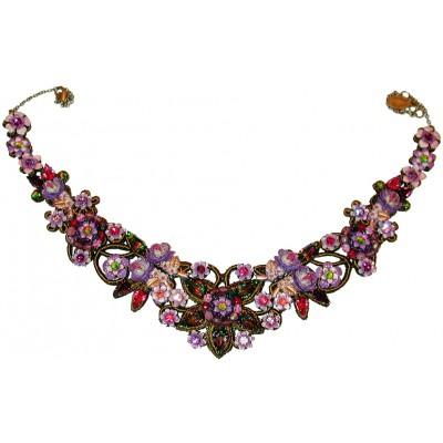 Michal Negrin Purple Pink Vintage Lace Necklace
