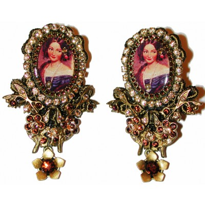 Michal Negrin Gold Woman Portrait Cameo Lace Earrings