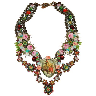 Michal Negrin Antique Multicolor Flowers Lace Necklace
