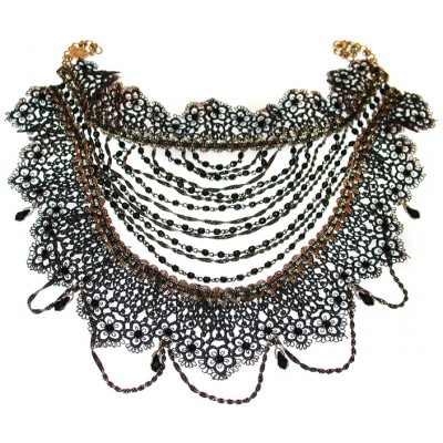 Michal Negrin Black Lace Choker Necklace