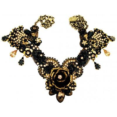 Michal Negrin Black Gold Rose Garden Necklace