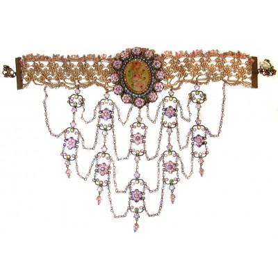 Michal Negrin Lilac Roses Cameo Choker Necklace