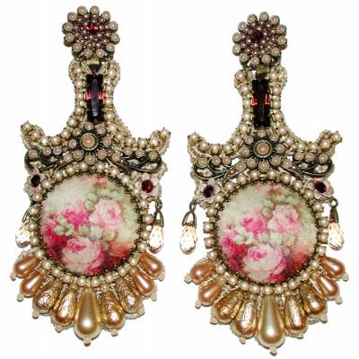 Michal Negrin Pearl Garnet Baroque Clip Earrings