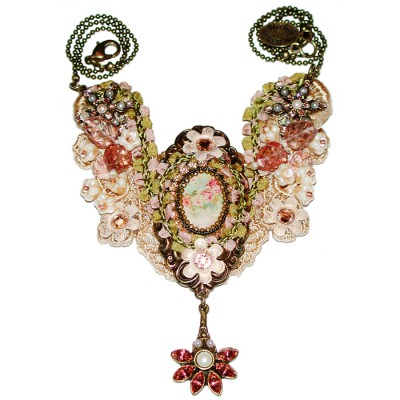 Michal Negrin Cream Lace Cameo Necklace