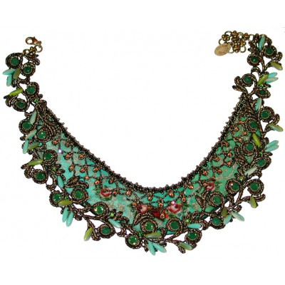 Michal Negrin Green Roses Necklace