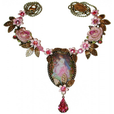 Michal Negrin Pink Cabochon Cameo Necklace