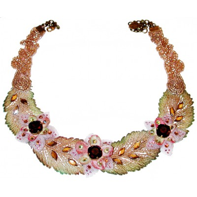 Michal Negrin Embellished Flowers Lace Necklace